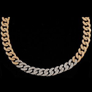 Tiffany and Co. 14k Bicolor Gold Diamond Link Necklace