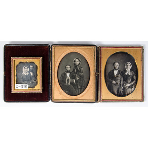 Daguerreotype Portraits of Couples, Including Three Half Plate Images, Lot of Five