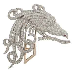Platinum Diamond Bird Brooch