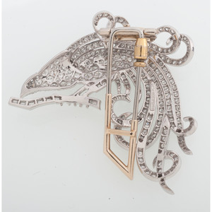 Platinum Diamond Bird Brooch
