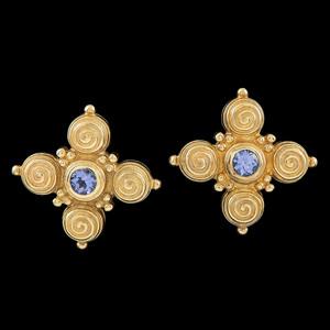 Caroline Ballou 18k Gold Tanzanite Earrings