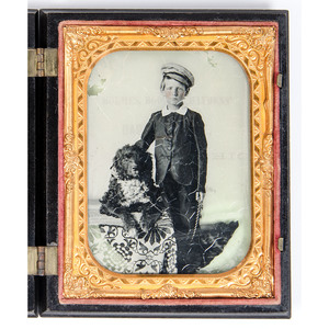 Quarter Plate Ambrotype of a Boy and his Dog