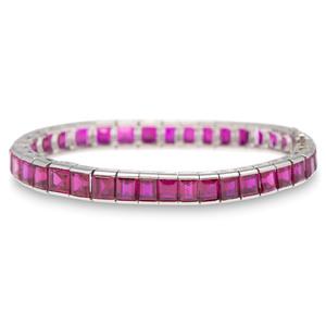 Platinum Synthetic Ruby Bracelet