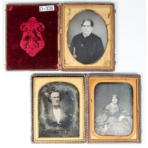 Three Half Plate Daguerreotype Portraits of Adult Male and Female Subjects