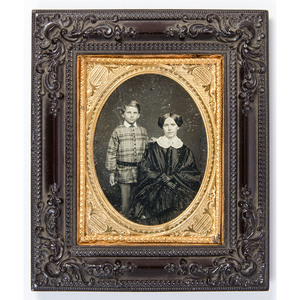 Quarter Plate Portrait of a Mother and Son Housed in Daguerreian Wall Frame