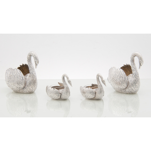 German 800 Silver Swan Figural Sugars and Salts