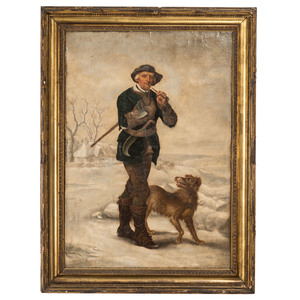 An English Portrait of a Man with Dog