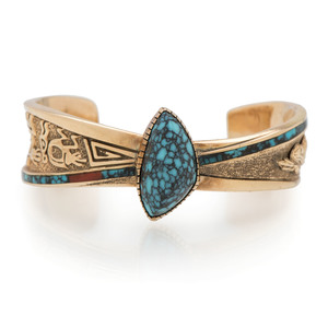 Andy Lee Kirk (Isleta / Dine, 1947-2001) 14K Gold and Turquoise Cuff Bracelet