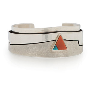 Richard Chavez (San Felipe, b.1949) Silver Cuff Bracelet, with Turquoise and Coral