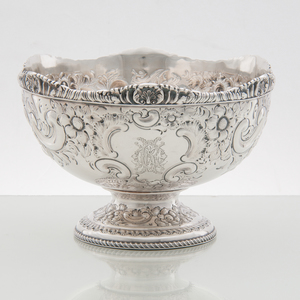 Sheffield Sterling Repoussé Footed Bowl