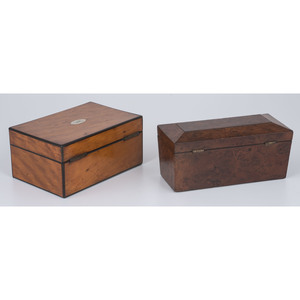 Burled Walnut Tea Caddy and Dresser Box