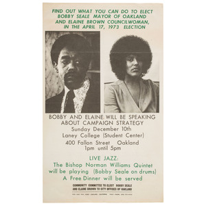 Bobby Seale and Elaine Brown, Oakland Election Poster, 1973