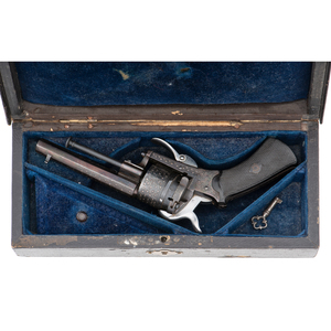 Cased Engraved Pinfire Revolver by Scholberg & Gadet