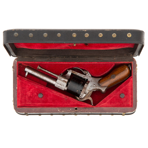 Cased Engraved Lefucheaux Pinfire Revolver