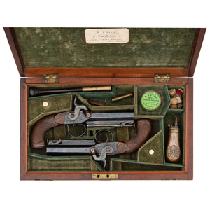 Cased Pair of English Percussion Pistols by W. Child