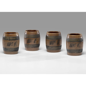 A Rare Set of Four Cobalt-Decorated Stoneware Barrel-Form Tavern Mugs