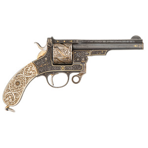 Magnificent Exhibition Quality 9mm Mauser Zig-Zag revolver with Superb Ivory Grips