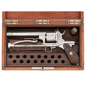 Unique Cased Pinfire Revolver with Unusual Folding Stock and Bayonet