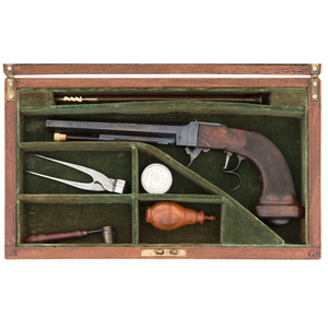 A Gosset Type French Underhammer Percussion Pistol Signed Chaubet, Bordeaux Ca 1840 in Associated Case