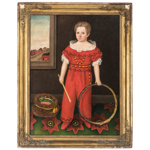 A Folk Art Portrait of Jonathan Southwick in Red with Hoop Toy