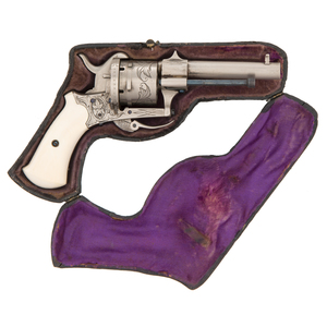 Engraved Pinfire Revolver In Pipe Style Leather Casing