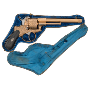 Unusual Engraved All-brass Pinfire Revolver by Lefaucheux