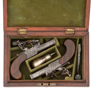 Cased Pair of Flint Boxlock Pistols By Mabson & Labron
