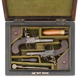 Rosewood Cased Pair of Small Flint Box Lock Pistols by D. Egg