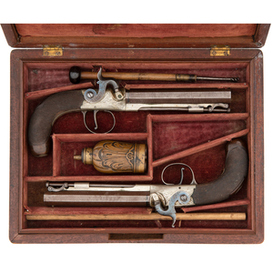 Cased Pair of English Percussion Rifled Single Shot Belt Pistols by Richards of London
