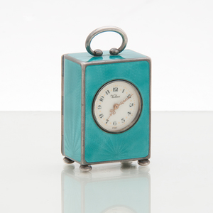 Valmé Swiss Guilloché Enamel and Sterling Miniature Carriage Clock