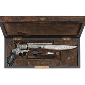 Unusual Heavily Etched Pinfire Bowie-Type Revolver