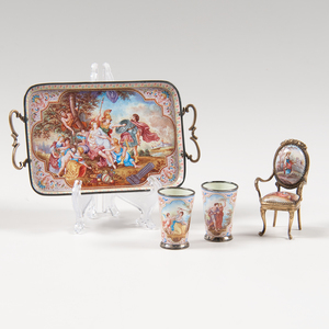Viennese Enamel Miniature Dishes and Chair