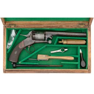 Cased Webley 3rd Model Long Spur Percussion Revolver