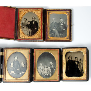 Quarter Plate Family and Sibling Portraits, Lot of 9
