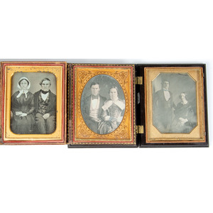 Quarter Plate Portraits of Couples, Many Posed Affectionately, Lot of 9