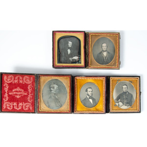 Daguerreotype Portraits of Men with Photographers Identified on Mats and Pads, Lot of 11