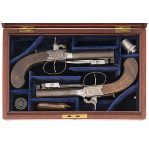Cased Set of Scottish Box Lock Percussion Pistols with Snap Bayonets by Martin of Glasgow Ca 1850