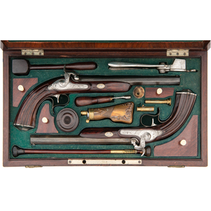 Cased Set of Continental Percussion Rifled Dueling Pistols