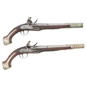 Pair of Balkan Silver and Steel Mounted Flintlock Holster Pistols, Ca. 1820
