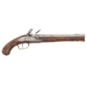 A Good 18th Century Saxon Flintlock Holster Pistol by Pistor of Schmalkelden