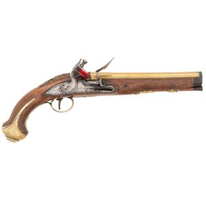 Good American Brass-Barreled Flintlock Pistol by Halbach & Sons, Ca. 1820