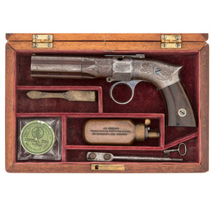Cased Leonard's Patent Robbins & Lawrence Pepperbox
