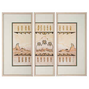 J. Talayumptewa (Dine, 20th century) Triptych Painting