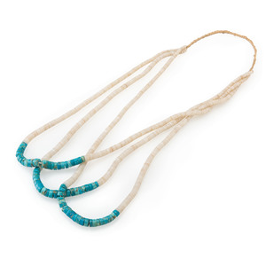 Pueblo Rolled Turquoise and Heishi Necklace