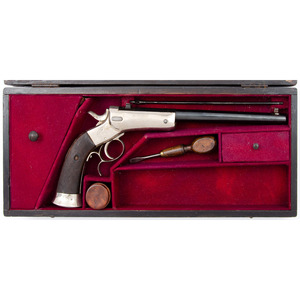 Cased Belgium Single Shot Cartridge Pistol