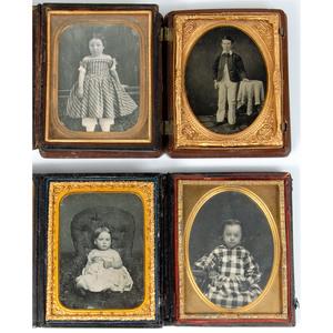 Endearing Quarter Plate Portraits of Children, Lot of 4