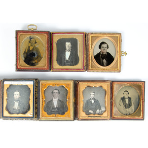 Fourteen Sixth Plate Portraits of Gentlemen, Incl. Self Portrait and Man with a Gun