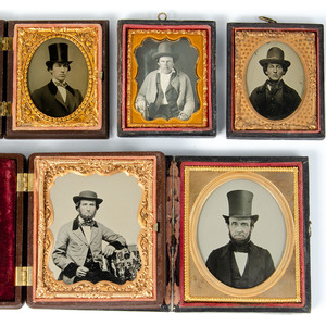 Men Wearing Assorted Hats, Lot of 16  Portraits of Various Sizes