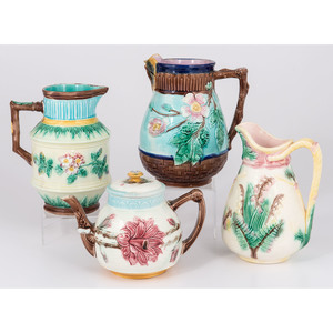 Majolica Pitchers and Teapot