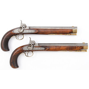 Pair of Interesting Contemporary Long Percussion Kentucky Type Pistols